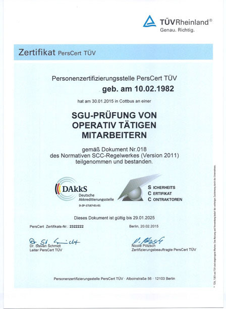 Zertifizierung | DBS Spezialsanierungen GmbH